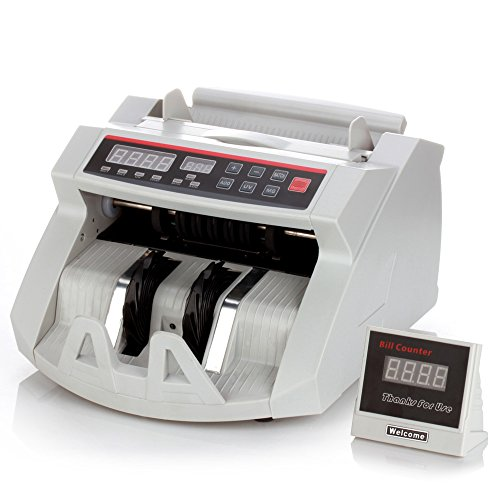 Flexzion Cash Bill Counter Money Currency Counting Bank Machine Counterfeit Detector Portable with Automatic Ultra Violet & Magnetic Detection Systems and External LCD Display (Commercial Adding Machine compare prices)