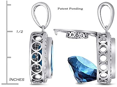 Switch-It Gems Round 10mm Simulated Aquamarine Pendant 12 Simulated Birth Months