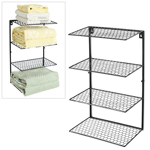 Black Metal Chicken Wire Mesh 4 Tier Towel Storage Rack / Wall Mounted Bathroom Organizer Shelf - MyGift (Chicken Wall Shelf compare prices)
