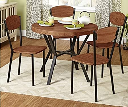 5 Piece Round Dining Set Small Wood and Metal Reclaimed Espresso