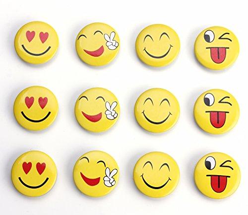 12-Pack Emoji Refrigerator Magnets, Fridge Magnets, Cute Magnets, Round Magnets for Magnetic Message Whiteboad, Office Cabinets (Smile Face) (Emoji Fridge Magnets compare prices)