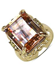 Suraabi 16.80CTW Champagne Cubic Zirconia & Yellow Cubic Zirconia 14K Yellow Gold Plated Brass Ring For Women