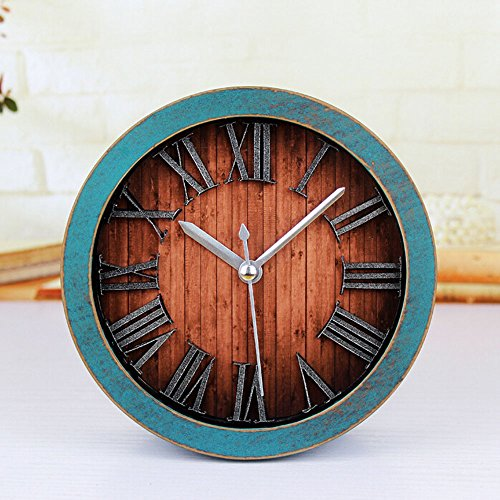 Alrens_DIY(TM) 3D Roman Numerals Retro Wood Pattern Silent Non-ticking Desk Wall Clock Vintage Alarm Clocks Round Desk Clocks Table Clock Home Decoration (Green)