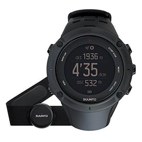 Suunto AMBIT3 PEAK HR, SS020674000 Orologio GPS Multisport, per l'Outdoor, Unisex, Fino a 30 Ore di Durata della Batteria, Monitoraggio Frequenza Cardiaca + Fascia Cardio in Blu, Resistente all'Acqua Fino a 100 m, Taglia M, Nero