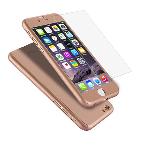 "Iphone 6 Case, Coocolor Ultra Thin Full Body Coverage Protection Hard Slim Iphone 6 Case with Tempered Glass Screen Protector for Apple Iphone 6 4.7"" (Rose Gold)"