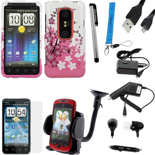 GTMax 8 pc Accessory Bundle Kit for Sprint HTC Evo 3D - Combo Set Includes: Hard Snap On Cover Case (Spring Flowers) + LCD Screen Protector + Earbud w/Mic + Windshield Car Mount + Car & Home Wall Chargers + Data Cable + Stylus Pen + Strap Lanyard