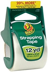 Duck Brand General Purpose Strapping Tape with Dispenser, 1.88 Inches x 12 Yards, 1.5 Inch Core (297440)
