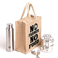 No Farmer no food,Printed jute massenger bag,specially design to carry lunch (Lunch bag,Medium Size, Height:11in, Lenght: 9in, Width:6in)