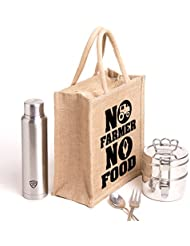 No Farmer No Food,Printed Jute Massenger Bag,specially Design To Carry Lunch (Lunch Bag,Medium Size, Height:11in...
