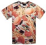 まるで 本物 3D Tシャツ (半袖 M, ハンバーガー & ポテト)