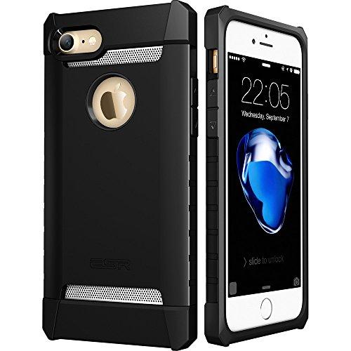 iPhone7ケース アイフォン7ケース,ESRR シリコン ハード耐衝撃ケース アルミ/TPU/PC三つ重構造 滑り防止 iPhone7 バンパー (ダークブラック)