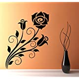 Decal Style Flower Swirl Wall Sticker Large Size- 19*25 Inch Color - Black