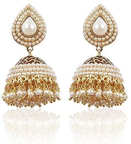 Shining Diva White Gold Plated Jhumki Earrings For Women & Girls