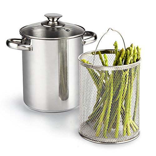 Cook N Home 2478 3 Piece Asparagus Vegetable Steamer Pot, 4 quart, Stainless Steel