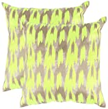 Safavieh Pillow Collection Throw Pillows, 20 by 20-Inch, Boho Chic Neon Citrus, Set of 2
