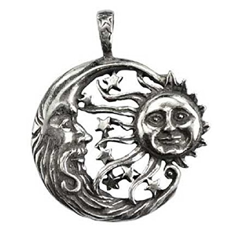 Sun Moon Windblown Celestial Pendant Necklace - Durable Pewter Design - Bonus Black Cord Included