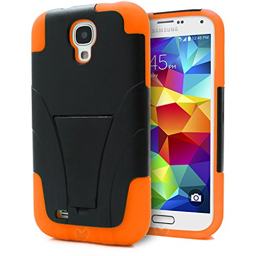 Galaxy S4 Case, MagicMobile® Premium Hybrid Dual Shockproof Silicone Drop [PROTECTION] Impact Armor Case for Galaxy S4 / SIV / i9500 Hard Protective PC Cover Skin with [KICKSTAND] [ Compatible with Samsung Galaxy S4 All Carriers] - Black / Orange (Samsung Galaxy S4 Drop Protection compare prices)