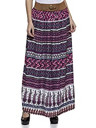 Wisstler Women's Multi Color Rayon Printed Long Skirt Size: 32