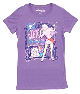Jem and the Holograms Jem Nouveau Singing Solo Retro Juniors Grape Purple T-Shirt (Juniors Medium)