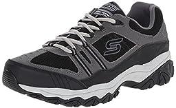 Skechers Sport Men\'s Afterburn Strike Memory Foam Lace-Up Sneaker, Charcoal/Black, 9 M US