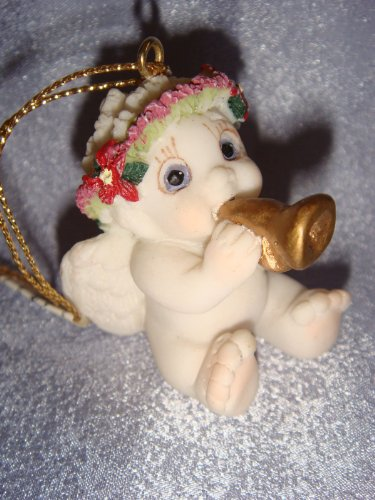 "Dreamsicle Polystone Ornament Figurine..... ""Cherub w/ Horn"" DX289"