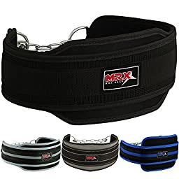 Weight Lifting Dipping Belt with Metal Chain (Black)