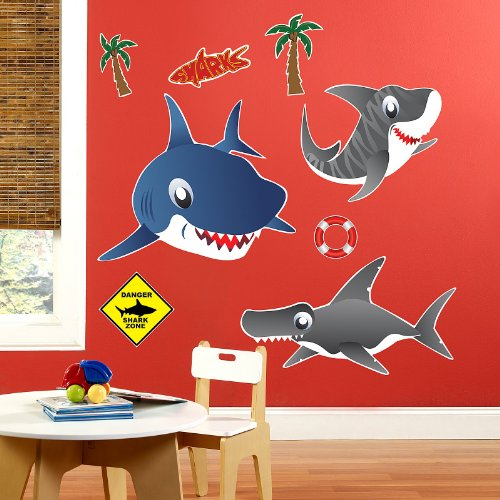 sharks giant wall decals lowest associated with amazon. Black Bedroom Furniture Sets. Home Design Ideas