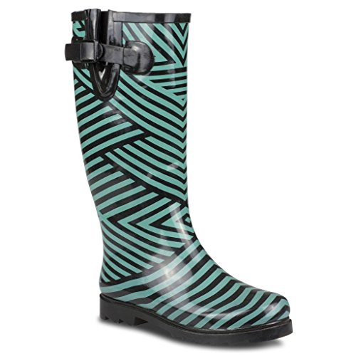 Twisted Women's DRIZZY Tall Cute Rubber Rain Boots - BLACK/TEAL, Size 10 (Cute Girl Rain Boots compare prices)