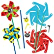 Bug Windmill Kits with Pre-Cut Card Shapes and Plastic Stick Children's Classroom Activity (Pack of 6)