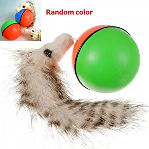 Random Color Amazing Plastic Fux Fur Chaserball Weazel Weasel Rolling Jumping Ball Toy for Pets Children