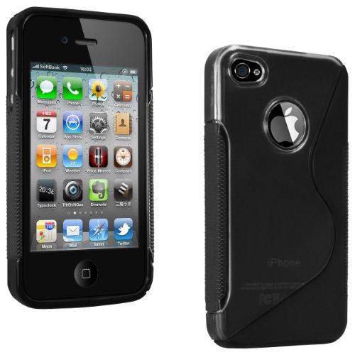 mumbi Power Grip TPU Silikon Schutzhülle für Apple iPhone 4/4S schwarz