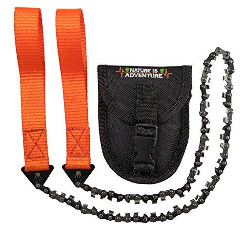 Mehr-Biss-mit-33-Zhnen-Nature-is-Adventure-Handkettensge-inkl-Grteltasche-Premium-Survival-Ast-Sge-fr-Camping-Garten-Outdoor-Zubehr