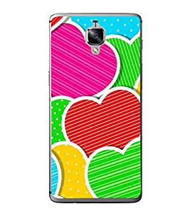 Multi Colour Hearts 2D Hard Polycarbonate Designer Back Case Cover for OnePlus 3 :: OnePlus Three