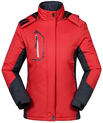 Cloudy Walker Women's Waterproof Mountain Jacket Fleece Windproof Ski Jacket(Red,M)