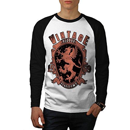 Annata Abbigliamento Camicia Capi di Uomo Nuovo Bianca (Maniche Nere) XL Baseball manica lunga Maglietta | Wellcoda