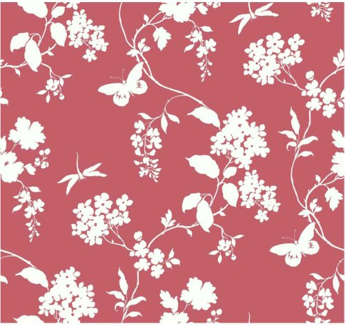 York Wallcoverings Ap7430 Silhouettes Trailing Floral And Vines Wallpaper, Salmon/White front-158916