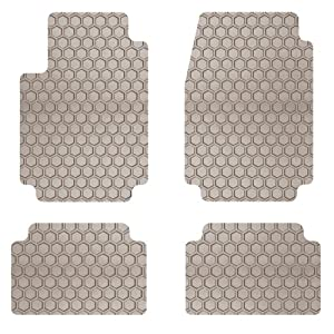Intro-Tech Hexomat Front and Second Row Custom Floor Mats for Select Hyundai Equus Models - Rubber-like Compound (Tan)