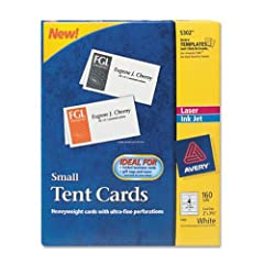 Avery Small Tent Cards 2 x 3.5 Inches White  Box of 160 (5302)