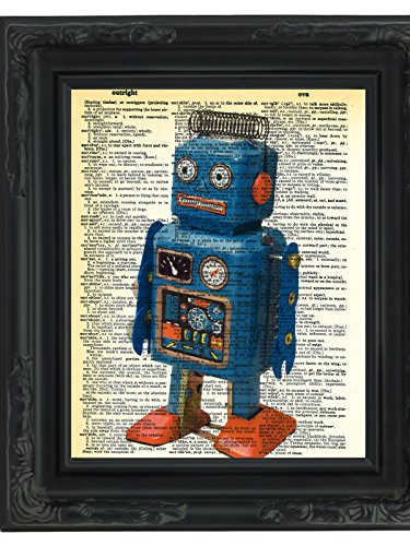 Dictionary Art Print Retro Robot Toy Printed On