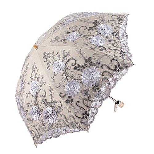Honeystore Vintage Lace UV Sun Parasol Two Folding 3D Flower Embroidery Umbrella 0