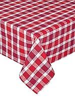 COINCASA Mantel de Mesa Rojo/Blanco 160 x 300 cm