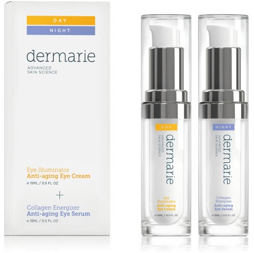 Dermarie Illuminator Eye Cream & Collagen Energizer Eye Serum Anti-Aging Treatment Set, 0.5 Oz. / 15 Ml