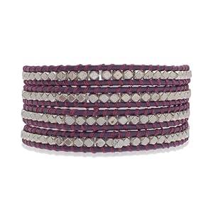 Rafaela Donata Bracelet Cuir véritable violet Beads métal couleur argent 60831042