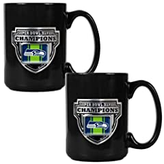 NFL Seattle Seahawks Super Bowl Champ Ceramic Mug Set (2-Piece), Black by Great American Products