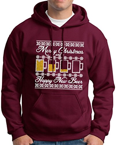 Ugly Christmas Sweater Beer Mugs Happy New Beer Premium Hoodie Sweatshirt Medium Maroon