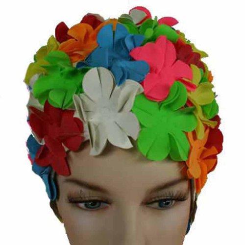 Luxury Divas Vintage Style Colorful Petals Latex Swim Bathing Cap