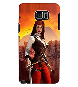 ColourCraft The Warrior Girl Design Back Case Cover for SAMSUNG GALAXY NOTE 5
