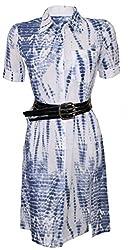 Attuendo Women's Tie-dye Print Shirt Dress (Large)