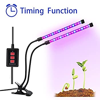 Lovebay Timing Function Dual head Grow light 36LED 5 Dimmable Levels Grow Lamp Bulbs with Adjustable 360 Degree Gooseneck for Indoor Plants Hydroponics Greenhouse Gardening [2017 Upgraded]