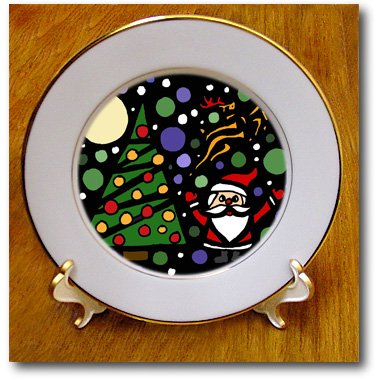 cp_200140 All Smiles Art Christmas - Cute Santa and Christmas Tree Christmas Art Abstract - Plates persian art
